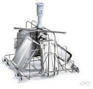 Stainless steel trolley with upper sprayer for trays and lids.
