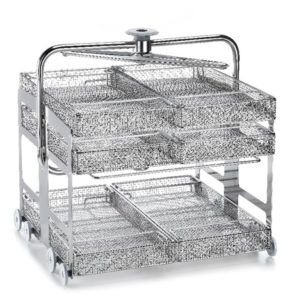 Stainless steel trolley with 2 washing levels able to hold 6 trays. Two spray arms incorporated.