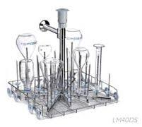 40-position universal flask washing trolley in stainless steel with 40 spigots and drying system